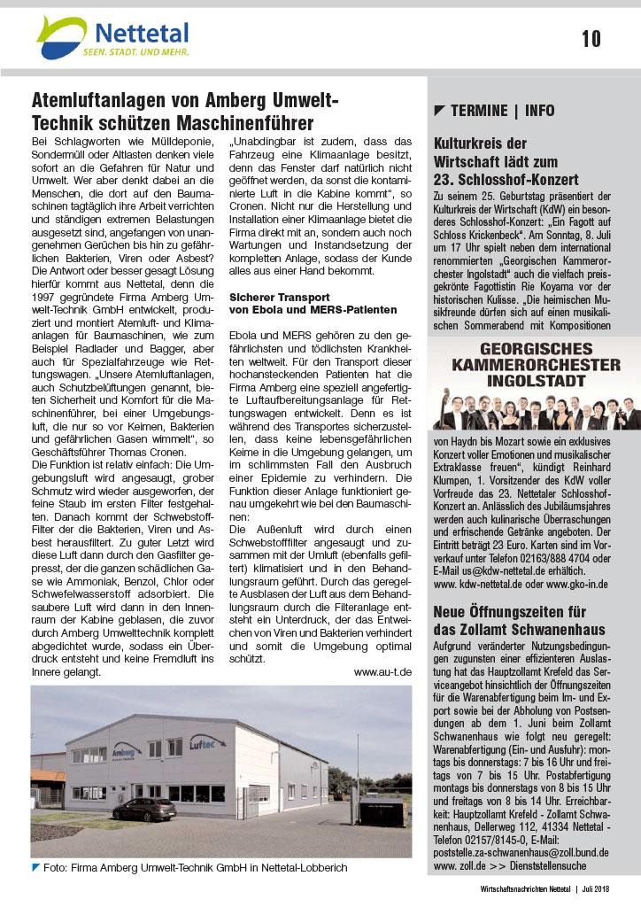 Atemluftanlagen von Amberg Umwelt-Technik schützen Maschinenführer